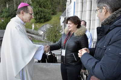Mgr Nicolas Brouwet et Pascale Maurin
