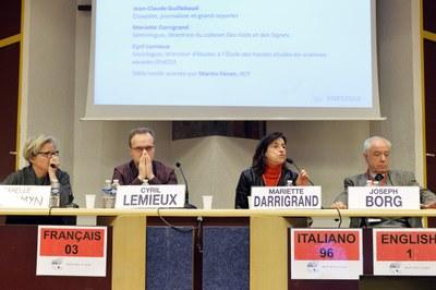 """Table ronde """"Vérité et Objectivité"""" avec Isabelle de Gaulmyn, Cyril Lemieux, Mariette Darrigrand et Joseph Borg"""