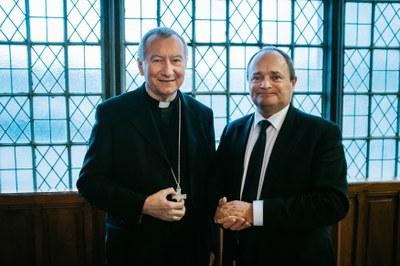 Son Eminence le Cardinal Pietro Parolin et Jean-Marie Montel